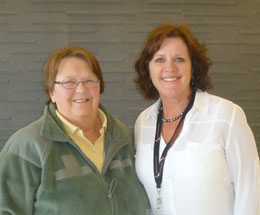 Cindy Snow (L) with Miles of Hope Co-founder Cathy Varunok